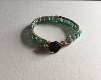 Sea foam green leather bracelet