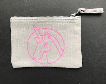 Canvas purse, small, grey Unicornected