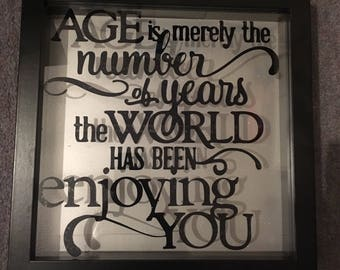 Birthday frame   Age is merely a number    Happy birthday gift