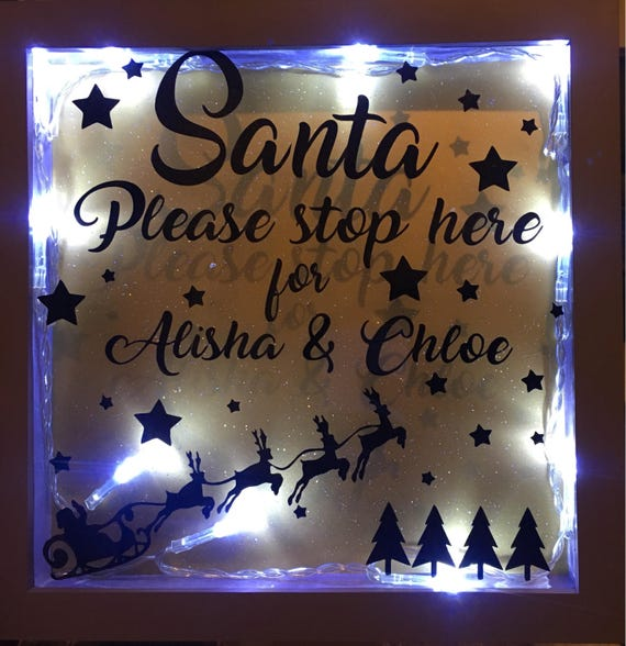 Personalised Light Up Santa Please Stop Here Box Frame Custom Etsy