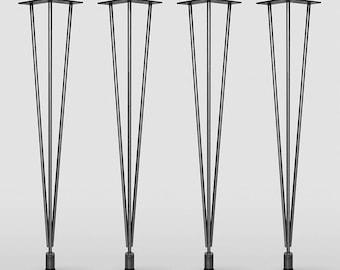 ORIGINAL LEG / Set of 4  Legs / Raw Steel /         Original hairpin Leg with Leveler, Mid Century Modern, DIY, Metal Table Legs