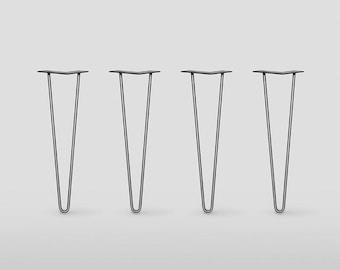 2 rod Hairpin Legs / Set of 4 /          Raw Steel or Stainless Steel, Mid Century Modern, DIY, Metal Table Legs