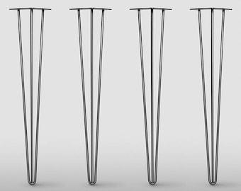 3 Rod Hairpin Legs /  Set of 4 / Raw Steel or Stainless Steel,  Mid Century Modern , DIY, Metal Table Legs, Hairpin legs