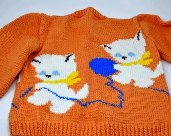 e91c4a305 Vintage Childs Peach Hand Knit Cat Sweater