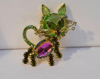 HK Women/'s Vintage Rhinestone Green Eyes Cat Brooch Pin Dress Jewelry Gift Fash