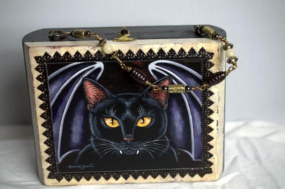 Vintage  Hand Painted Halloween Vampire Cat Cigar
