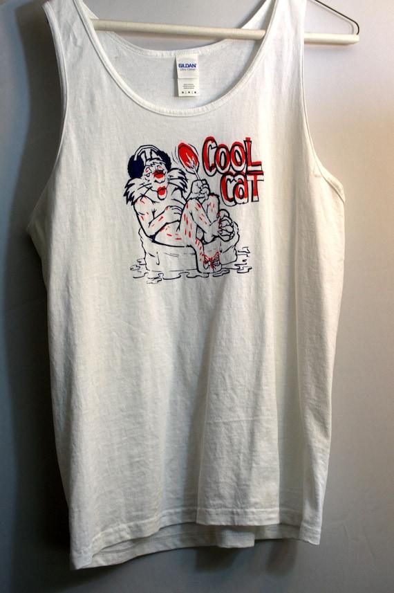 "Vintage 1980s Cat Tank Top ""Cool Cat"""