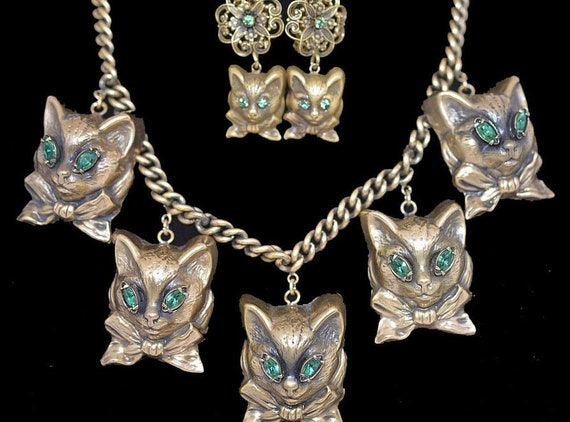 1950's  Joseff of Hollywood Cat Necklace and Earri