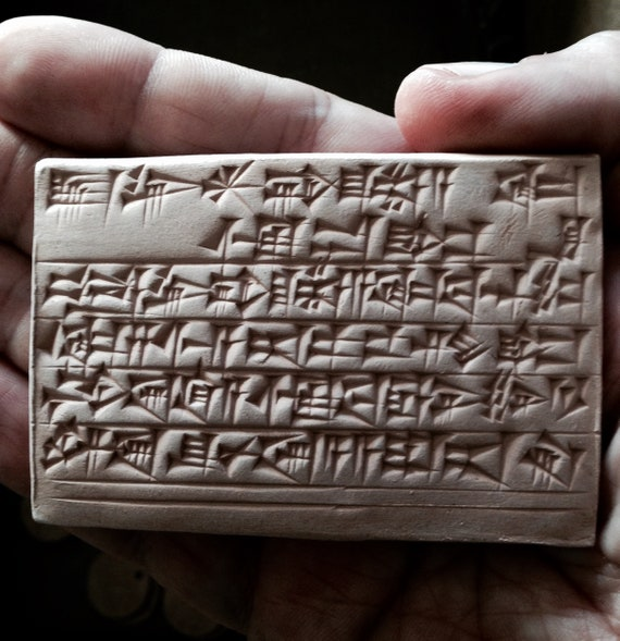 Ancient Decor Sumerian Cuneiform Landscape Clay Tablet The Shameless Drunk Bar Decor