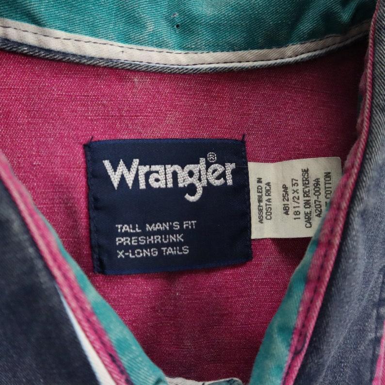 Vtg Wrangler Western Denim Shirt Mens size 2XLT Tall Bold Striped Drape Nicely Faded Cowboy Vaporwave Urban Cowboy Rodeo