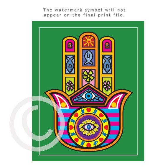 Hamsa Good Luck Charm To Ward Off Evil Spirits10x8 Poster Etsy