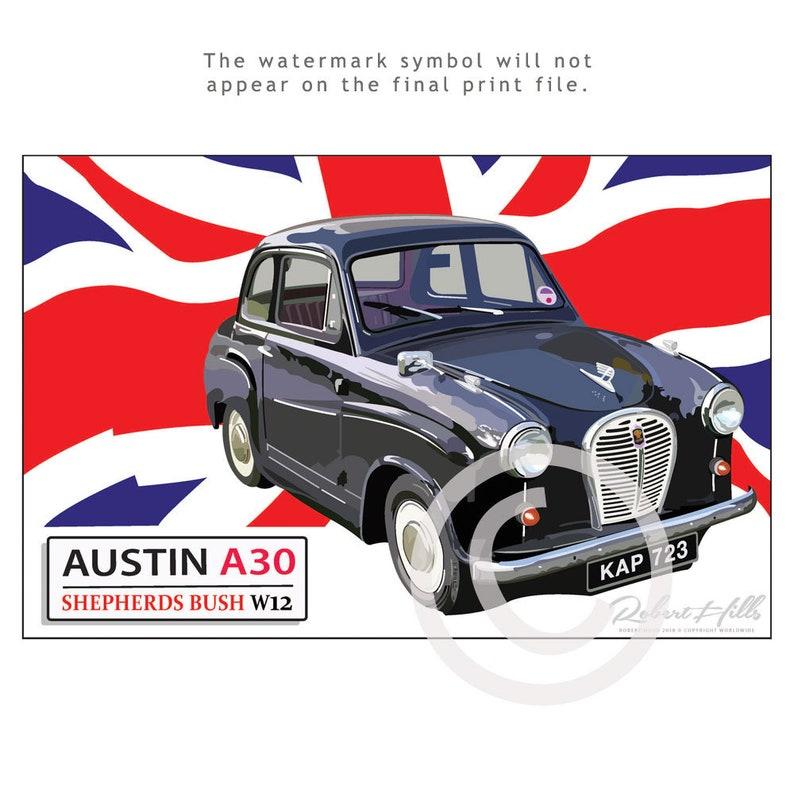 Vintage 1950s Austin A30 Car Poster, 12x15