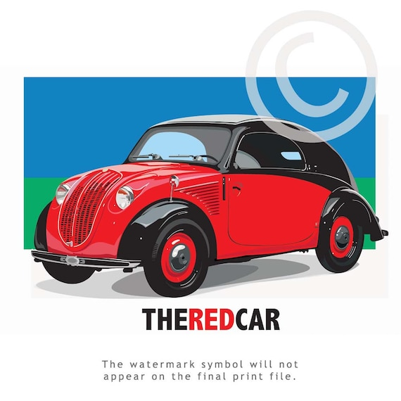 Classic Cars with Etsy - THE RED CAR - Enjoy this attractive stylish  Vintage Automobile illustration,Wall Art,Car,Red,Fathers Day, Tampa art