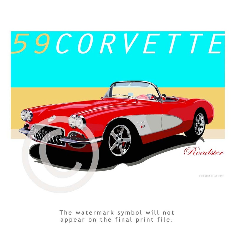 Vintage 59 Corvette Roadster Car Poster, Fine Art Illustration, Modern  Graphics, Birthday Gift,American sportscars,Chevrolet Road Cars,Tampa