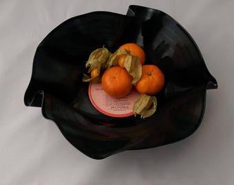 Handmade vinyl record fruit bowl