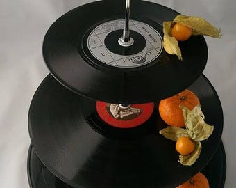 Handmade recycled vinyl record cake stand