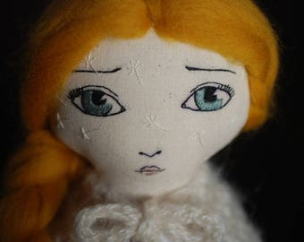 Handmade cloth doll, OOAK doll, fabric doll, Hanolky cloth doll, embroidered face, heirloom doll, dandelion