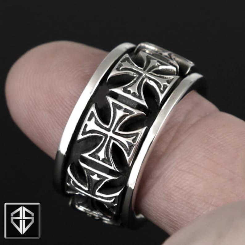 Knights Templar Masonic Cross Biker Spin Spinner Spinning Ring 925 Sterling Silver
