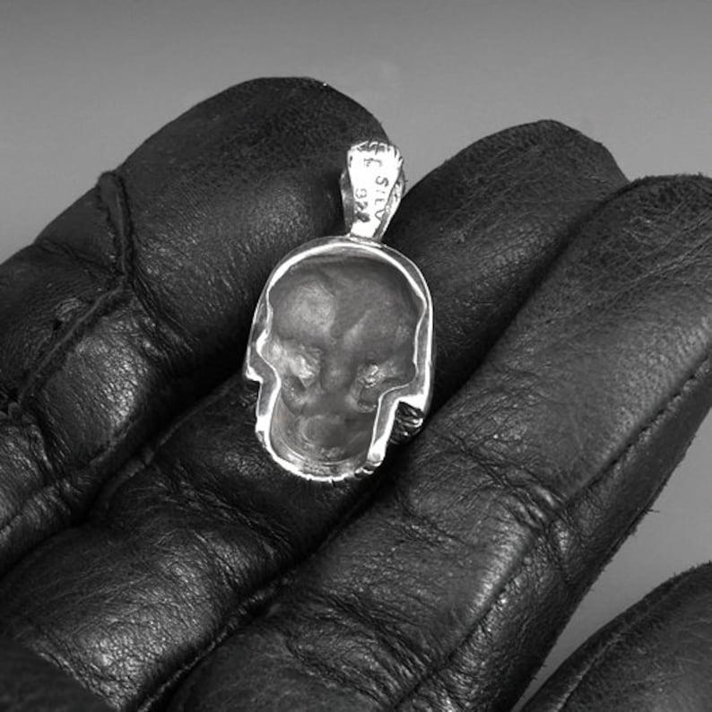 Sugar Skull Day Of The Dead Pendant 925 Sterling Silver Biker Amulet
