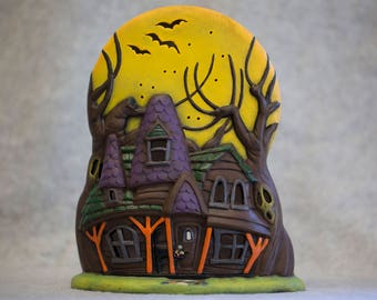 Hand-Painted Ceramic Haunted House Figurine