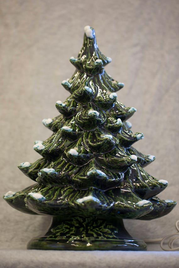 Ceramic Christmas Tree With Lights.Hand Painted Ceramic Christmas Tree With Lights