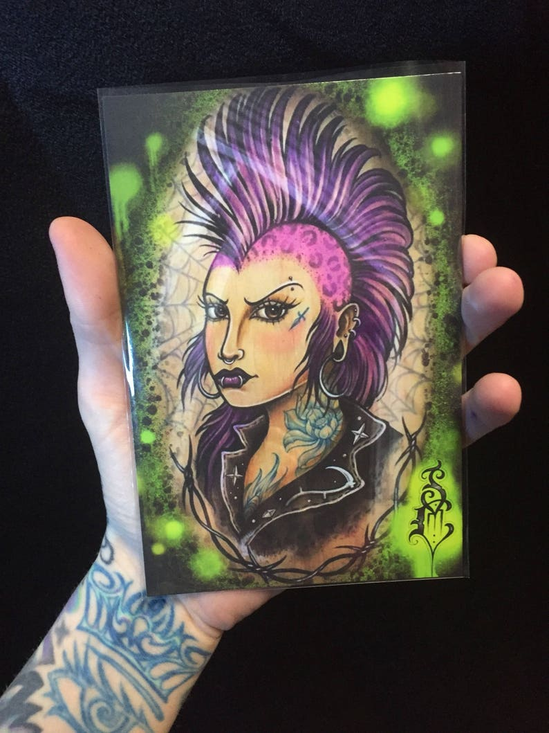 23137aedd Greeting card print of punk tattooed chick with mohawk leather | Etsy