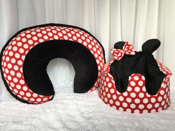 Minnie Mouse Inspired Bumbo Chair And Boppy Pillow Covers Etsy Classy Minnie Mouse Boppy Pillow Cover