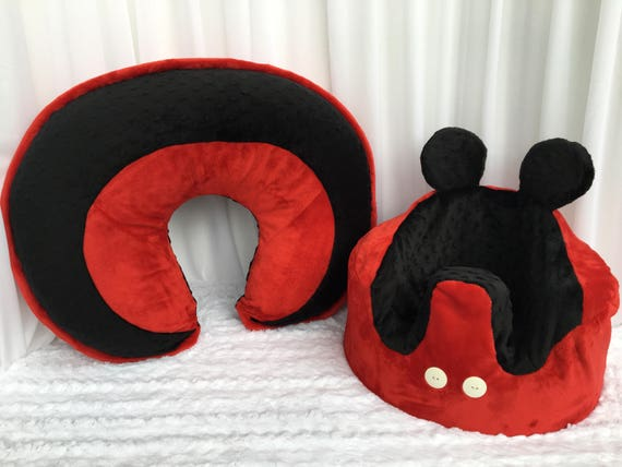 Micky Mouse Inspired Boppy Pillow Cover And Bumbo Chair Cover Etsy Enchanting Minnie Mouse Boppy Pillow Cover