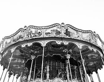 Fairground Photography, Carousel Photo Print, Paris Fairground Photo, Paris Lifestyle Photo Prints, France Black White Photos