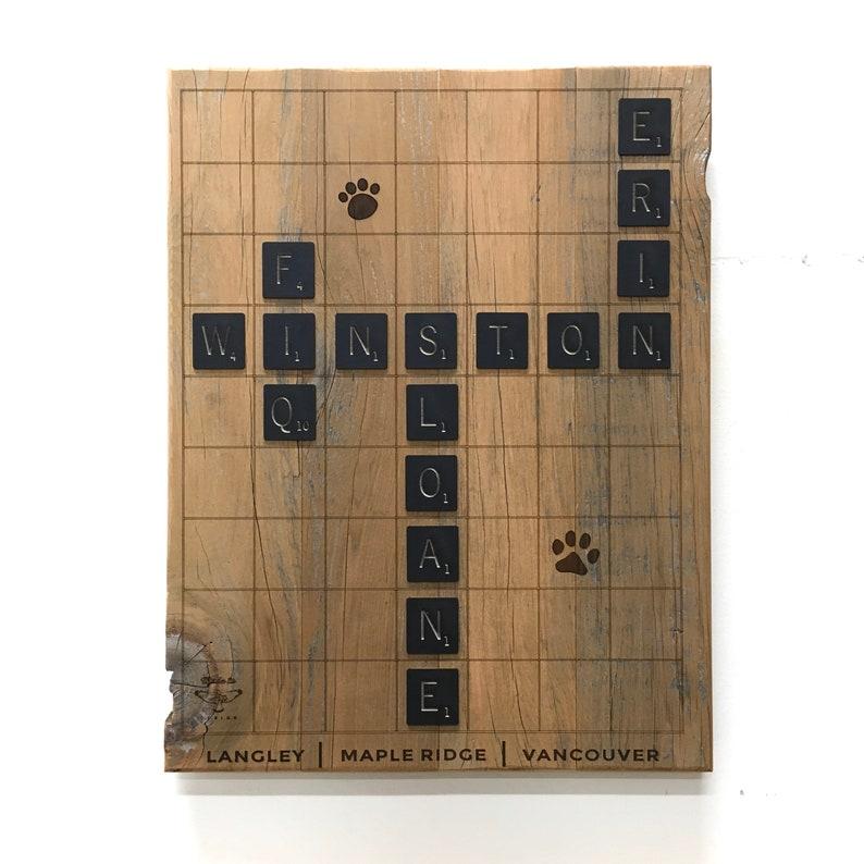 Scrabble Name Art Wood Custom Reclaimed image 0