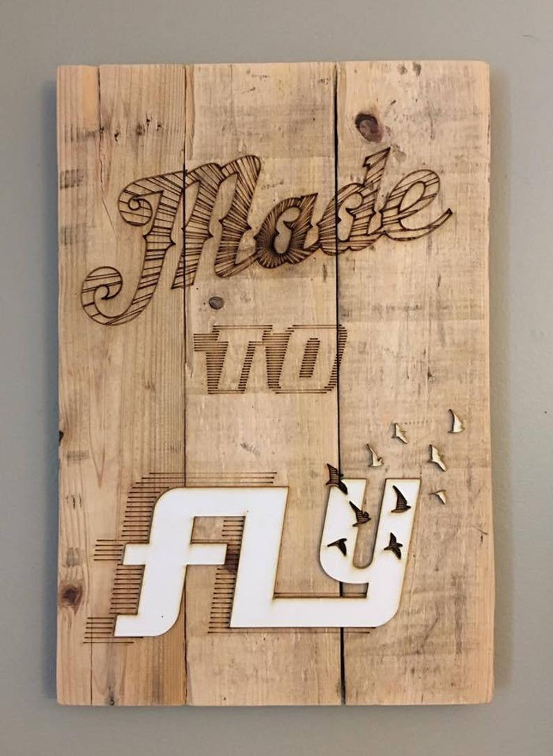 Word Art 'Made To Fly' Reclaimed Pallet Wood & Plastic image 0