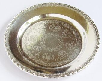 Vintage engraved silver plated plate/tray - small - SWEDEN