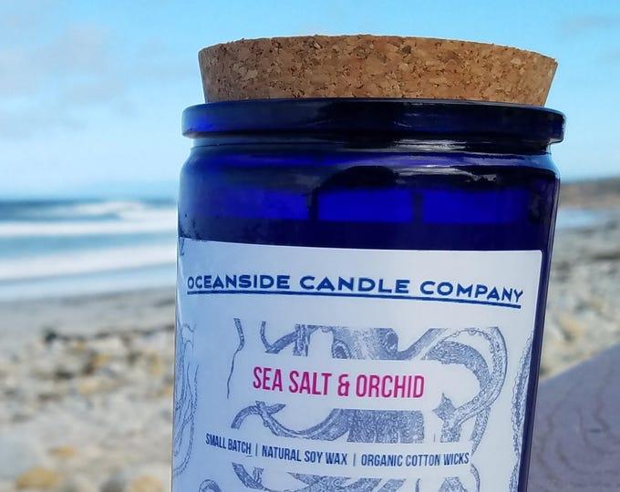 Sea Salt Orchid - 12 oz Blue Jar - Soy Candle