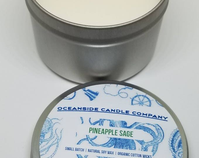Pineapple Sage - 8 oz. Travel Tin - Soy Candle