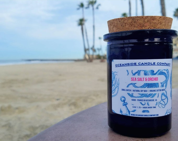 Sea Salt & Orchid - 6 oz Blue Glass Jar - Soy Candle