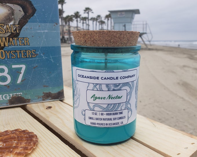 Agave Nectar -  12 oz Blue Glass Jar-  Soy Candle