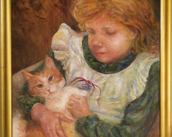 Child and Cat Painting, Two Figure Portrait, Custom Family Portraits, Family and Pet Portrait Painting from Photo, Oil Paintings