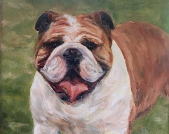 Bull Dog Painting, Dog Portrait Painting, Oil Painting Portraits