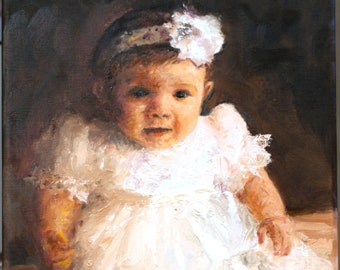 Blessings Baby Christening Oil Painting, Custom Portrait from photo, Baby Portraits, Baby Gift, Christening Gift, Baptism Gift