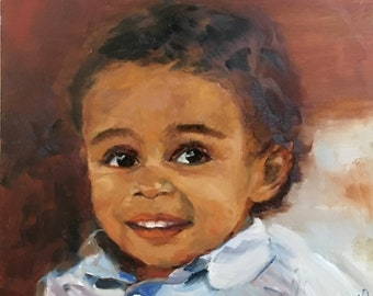 Baby Portrait Painting, Oil Painting People of Color, Portrait Painting from your photo, Custom Oil Paintings  by Artist Catherine Trezek