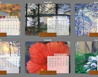 Artsy Desk Calendar, 12 month Card Calendar, Printed Oil Paintings Calendar, Perfect Gift for the Office, Artist Desk Calendar, Seasonal