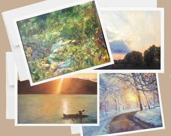 Artsy Notecards, Landscape Oil Paintings Note Cards, Variety of Blank Note Cards, Seasonal Note Cards, Stationary Set of 4 notecards