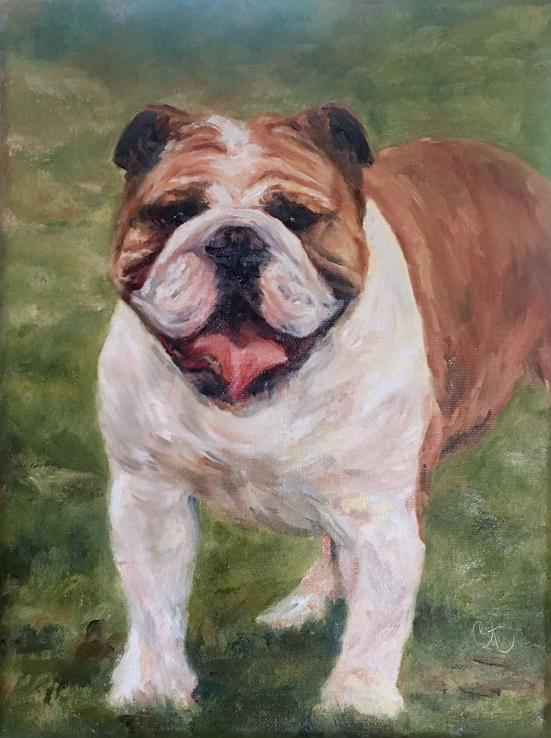 Bull Dog Painting Dog Portrait Painting Oil Painting image 0
