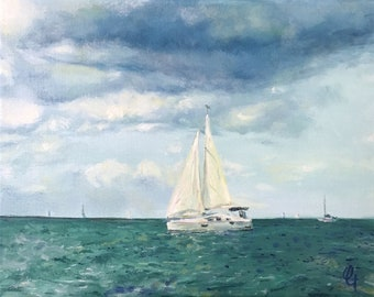 Sailing on Lake Michigan OIl Painting, Impressionist Landscape Painting, Nautical Painting, Collectible or Unique Memorable Gift Item