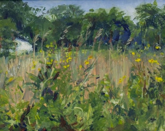 Miniature Painting of a Prairie in the Midwest, Small Artworks, Nature Inspired Oil Paintings by Catherine Trezek, Unique gift Idea, Memory