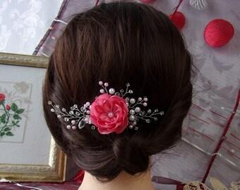 Wedding Hair Comb Swarovski Crystals and Pearl Beads/Satin Flower Hair Comb/Bridal Headpiece/Pink Head Jewelry/Wedding Hair Accessory