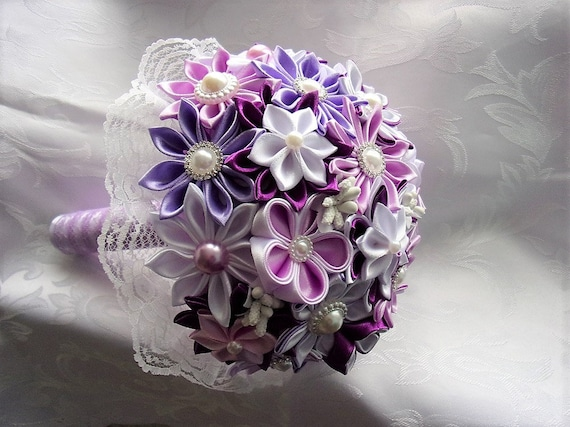 Purple Pink And White Wedding Bouquet Satin And Lace Etsy