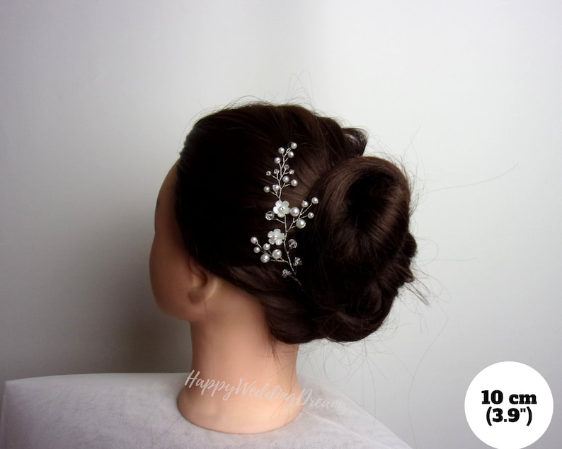 Bridal floral hair piece Natural spirit wedding headpiece Pearls and flowers piece of vine