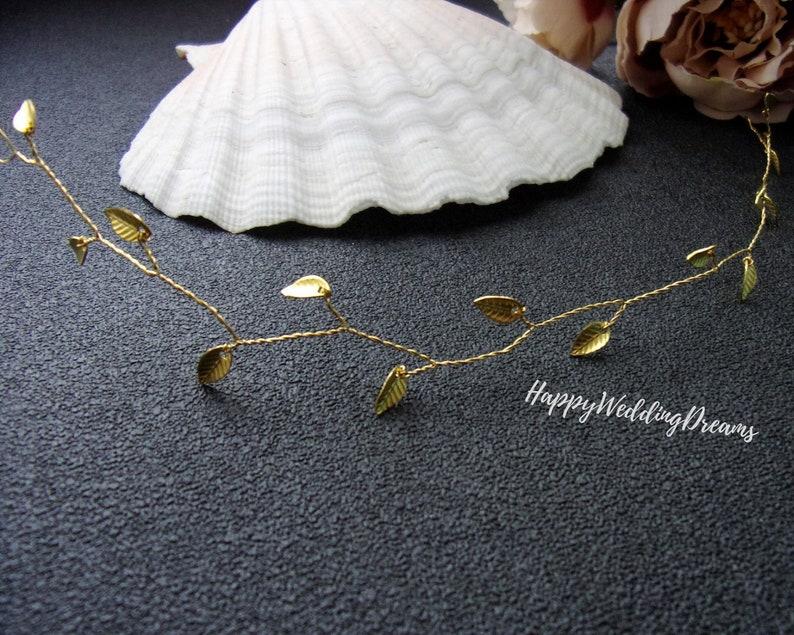 Gold leaf hair piece Wedding hair vine Rustic Bridal headband