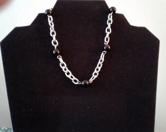 Beautiful black and silver chain necklace with extender